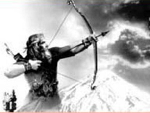 The archer Erekhsha, firing the arrow into the air to determine the borders.