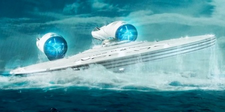 The Enterprise rises from the deep.